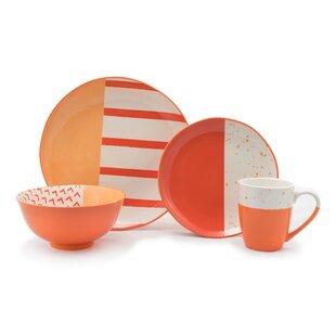 Bliss 16 Piece Dinnerware Set Service for 4 (Set of 16)  sc 1 st  Wayfair & Orange Dinnerware Sets Youu0027ll Love | Wayfair