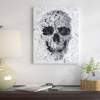 'Ali Gulec Room Skull Bw' Graphic Art Print - Halloween skull wall