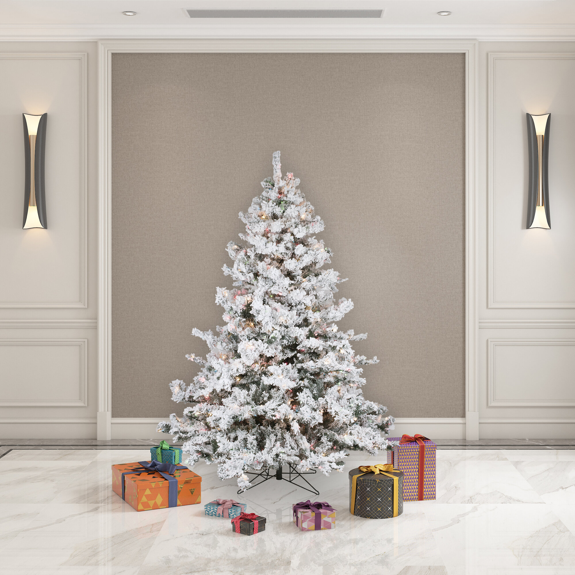 Loon Peak Flocked Alaskan 6 5 White Green Spruce Trees Artificial Christmas Tree With 600 Incandescent Multi Colored Lights With Stand Reviews Wayfair