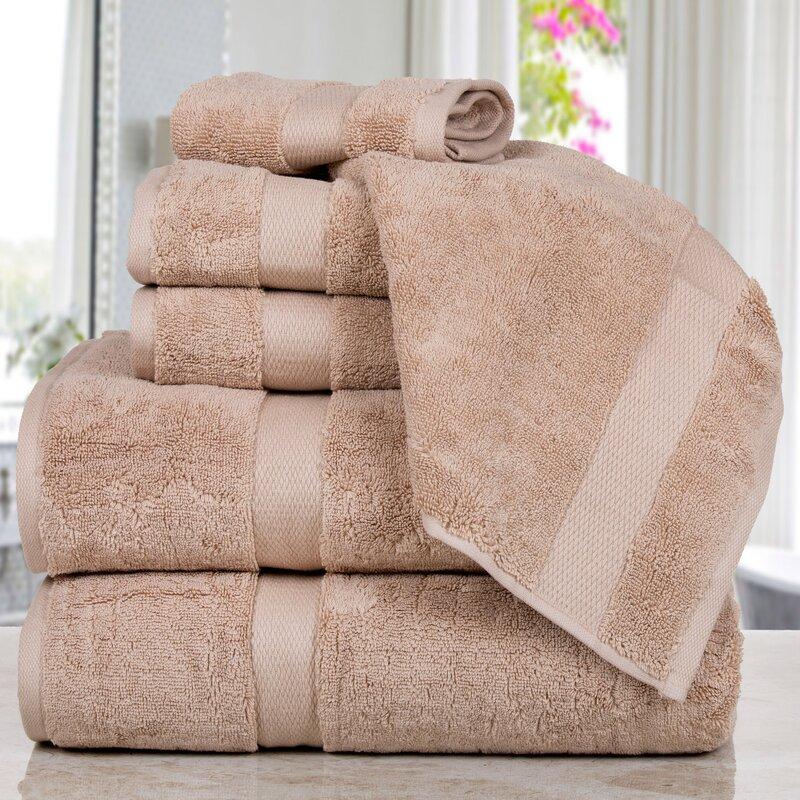 Affinity Linens Madhvi Premium Quality Luxury 6 Piece Cotton Towel Set  Color: Taupe