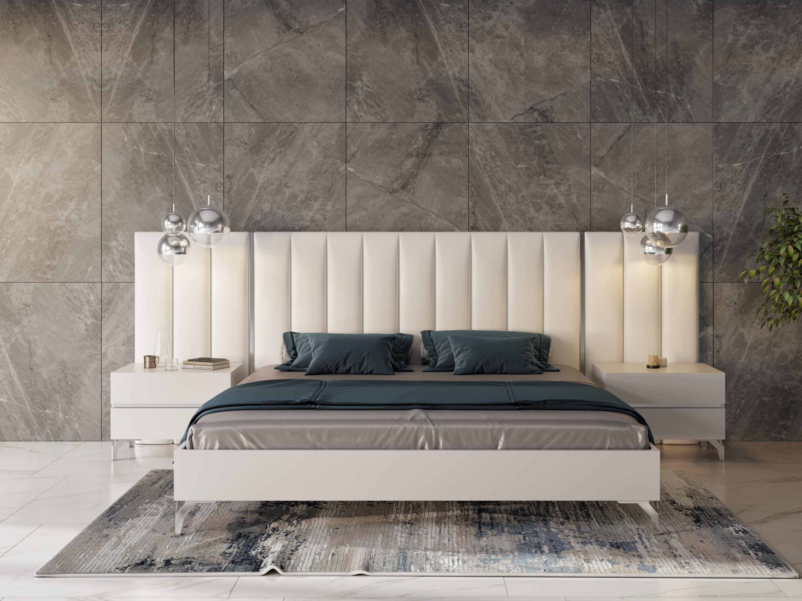 Orren Ellis Kayna Italian Modern Platform 3 Piece Bedroom Set Wayfair
