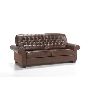 Barretti Genuine Leather Fold Out Sofa Bed By Rosalind Wheeler