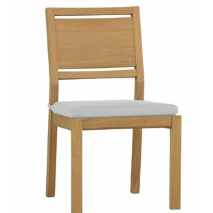 Avondale Teak Patio Dining Chair with Cushion (Set of 2)