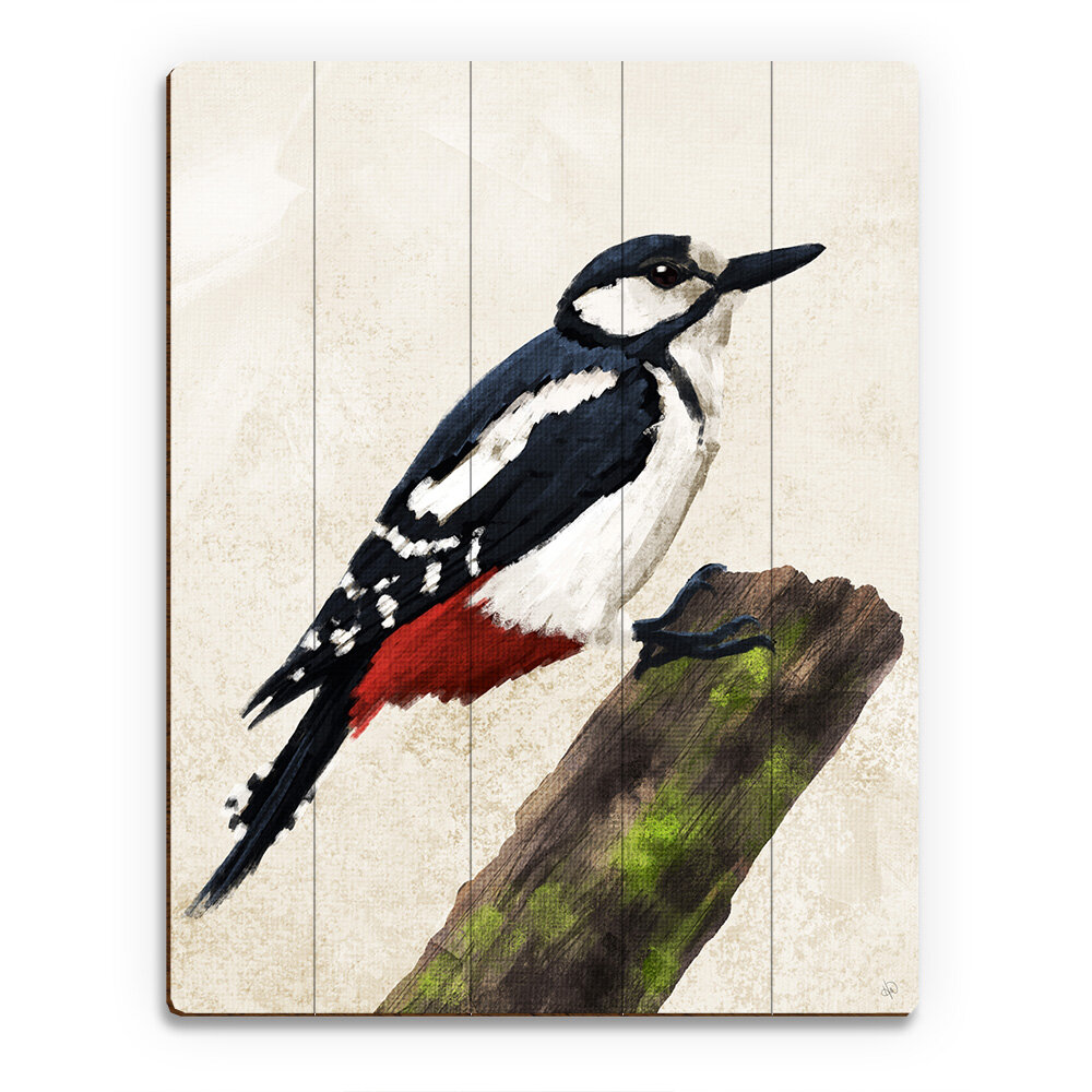 Green Woodpecker Wooden Greater Spotted with Baby Woodpecker Wall Hanging