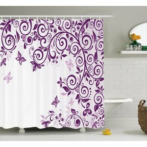 Judah Lilium Floral Branch Shower Curtain