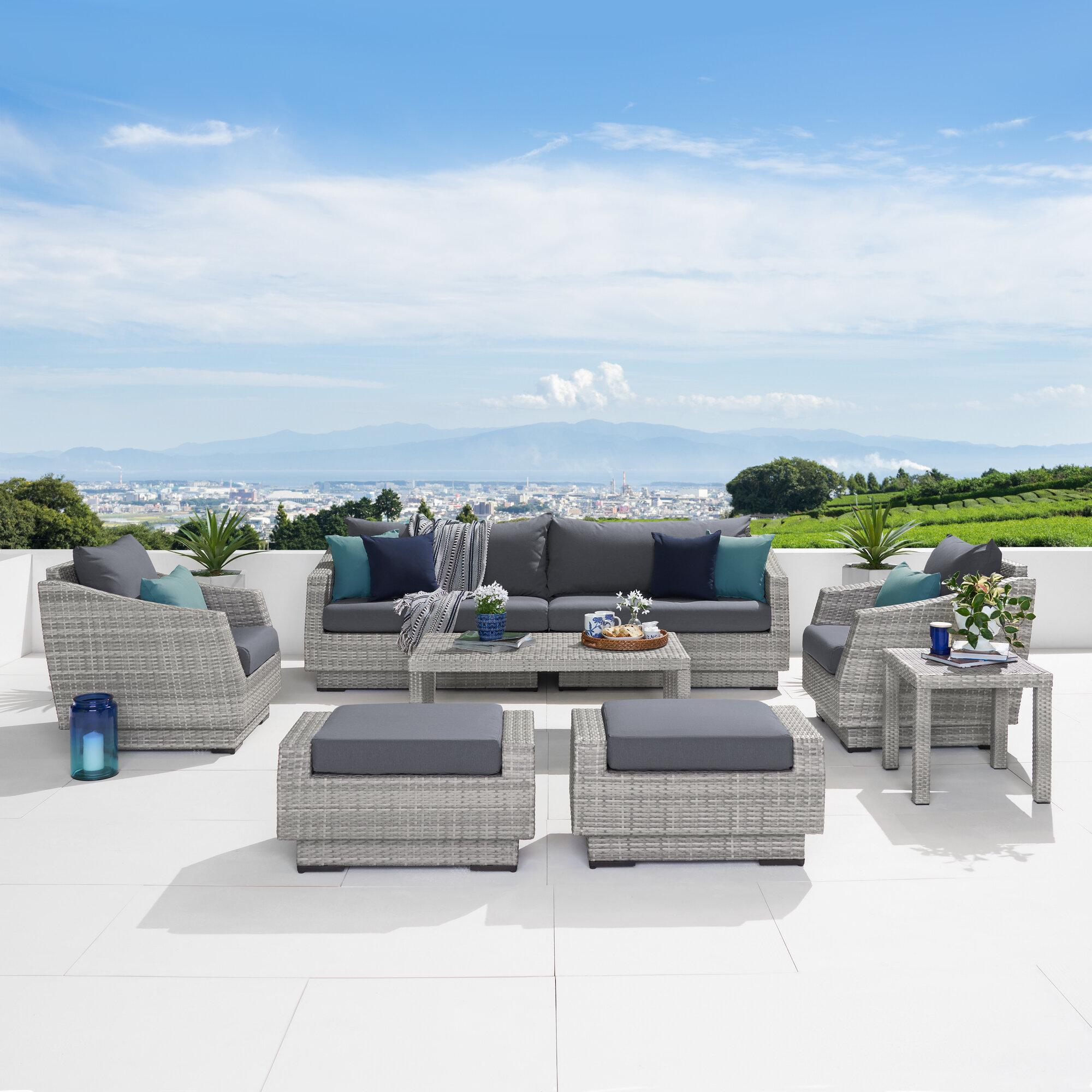 Wade Logan Castelli 8 Piece Rattan Sofa Seating Group With Cushions Reviews Wayfair