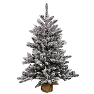 e3d200d3e43d1 Flocked 3.5  White Green Pine Artificial Christmas Tree with 150 Clear White  Lights