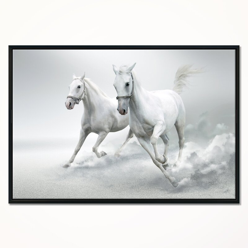 East Urban Home \'Running White Horses\' Framed Graphic Art Print on ...