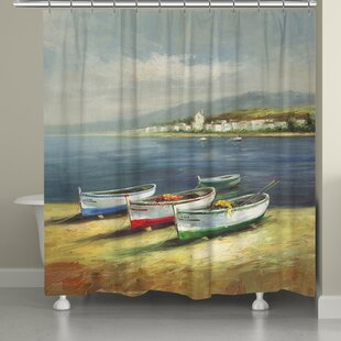 Boats on the Beach Shower Curtain by Laural Home
