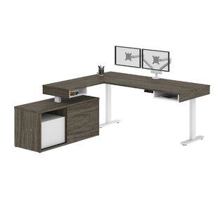 Hann Pro-Vega Height Adjustable L-Desk with Dual Monitor Arm in White and Black