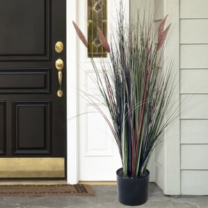 Artificial Ornamental Cattail Grass In Round Resin Pot