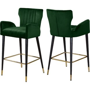 Valerie Velvet 28 Bar Stool (Set of 2) by Everly Quinn