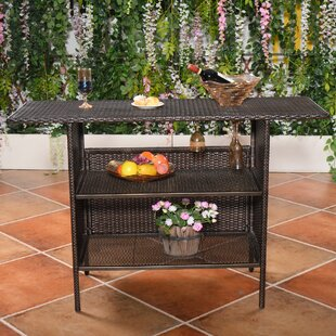 Bargain Huston Outdoor Rattan Wicker Counter Bar Table By Ebern Designs