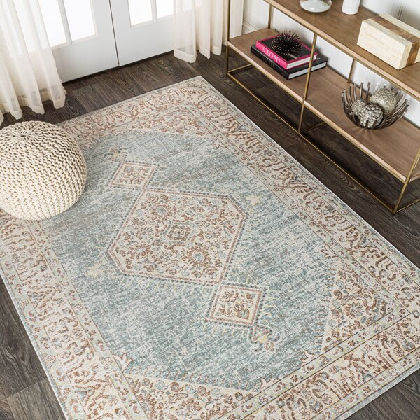 Bungalow Rose Mordecai Power Loom Light Blue Brown Rug Reviews Wayfair