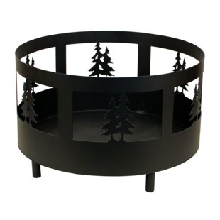Double Tree Scene Metal Wood Burning Fire Pit By Coast Lamp Mfg.