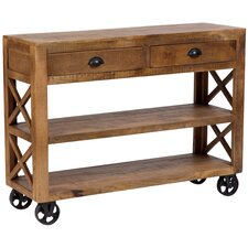 Barn Door Wooden Trolley Console Table by Porter International Designs