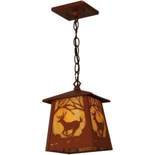 Deer at Dawn 1-Light Lantern Pendant by Meyda Tiffany