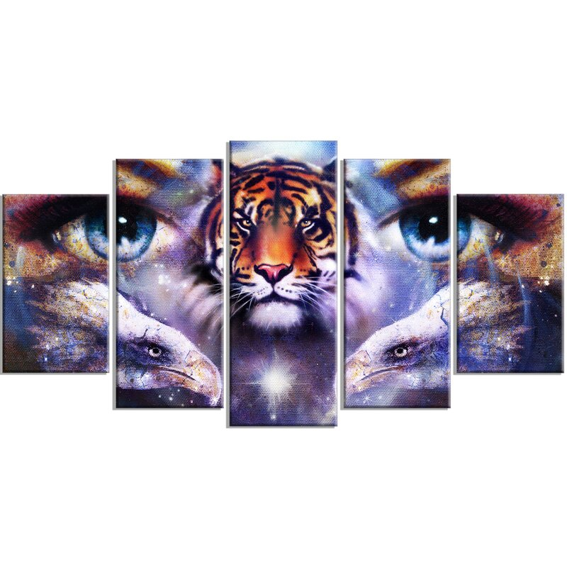 Designart Tiger With Woman Eyes 5 Piece Graphic Art On Wrapped Canvas Set Wayfair