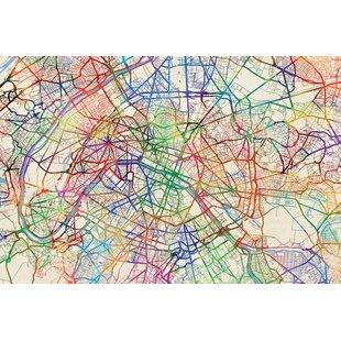 urban rainbow street map series paris france graphic art on wrapped canvas