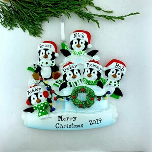 Personnalisé noël tree décoration ornement pelle de famille de 6