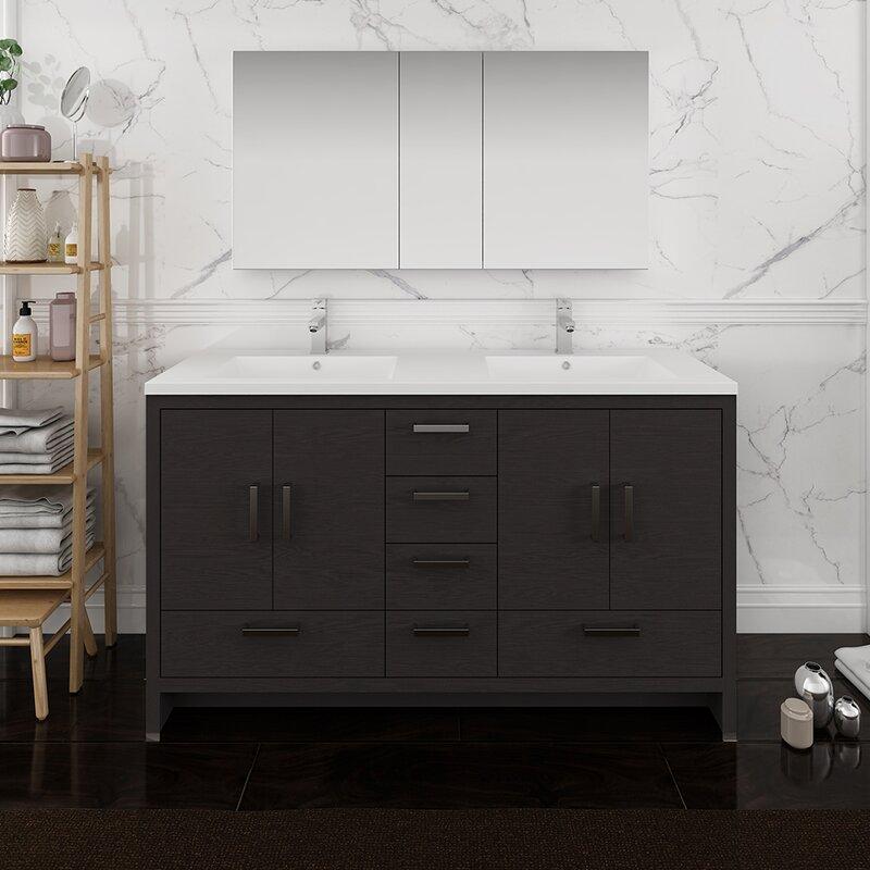 Fresca Senza Tuscany 60 Double Bathroom Vanity Set With Medicine Cabinet Wayfair