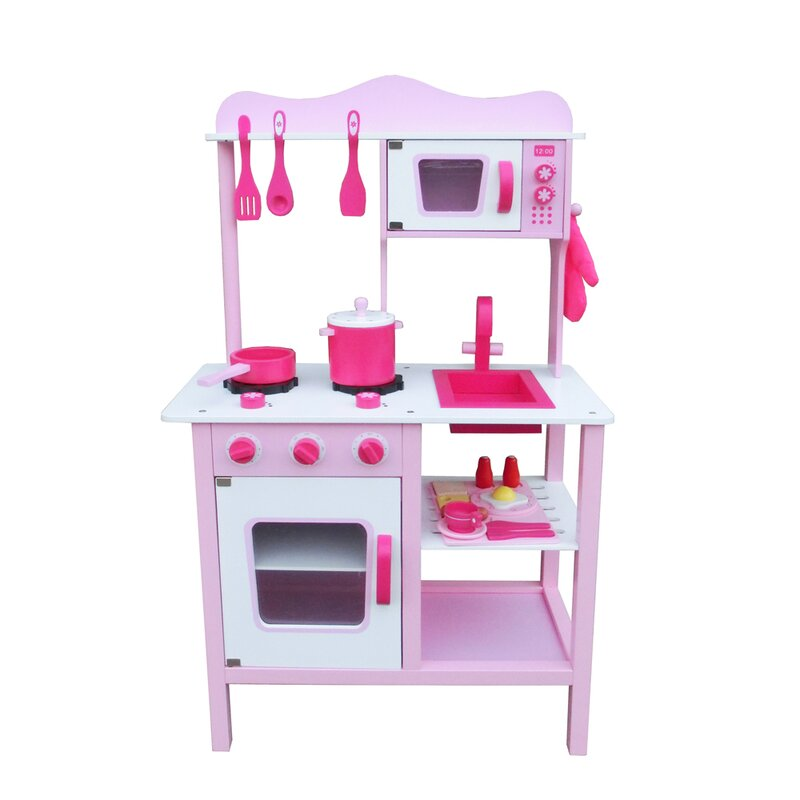 Blue//Pink Microwave Tableware Cooking Toys Simulation Cookware Set Toy Small Household Kitchenware Playset for Children