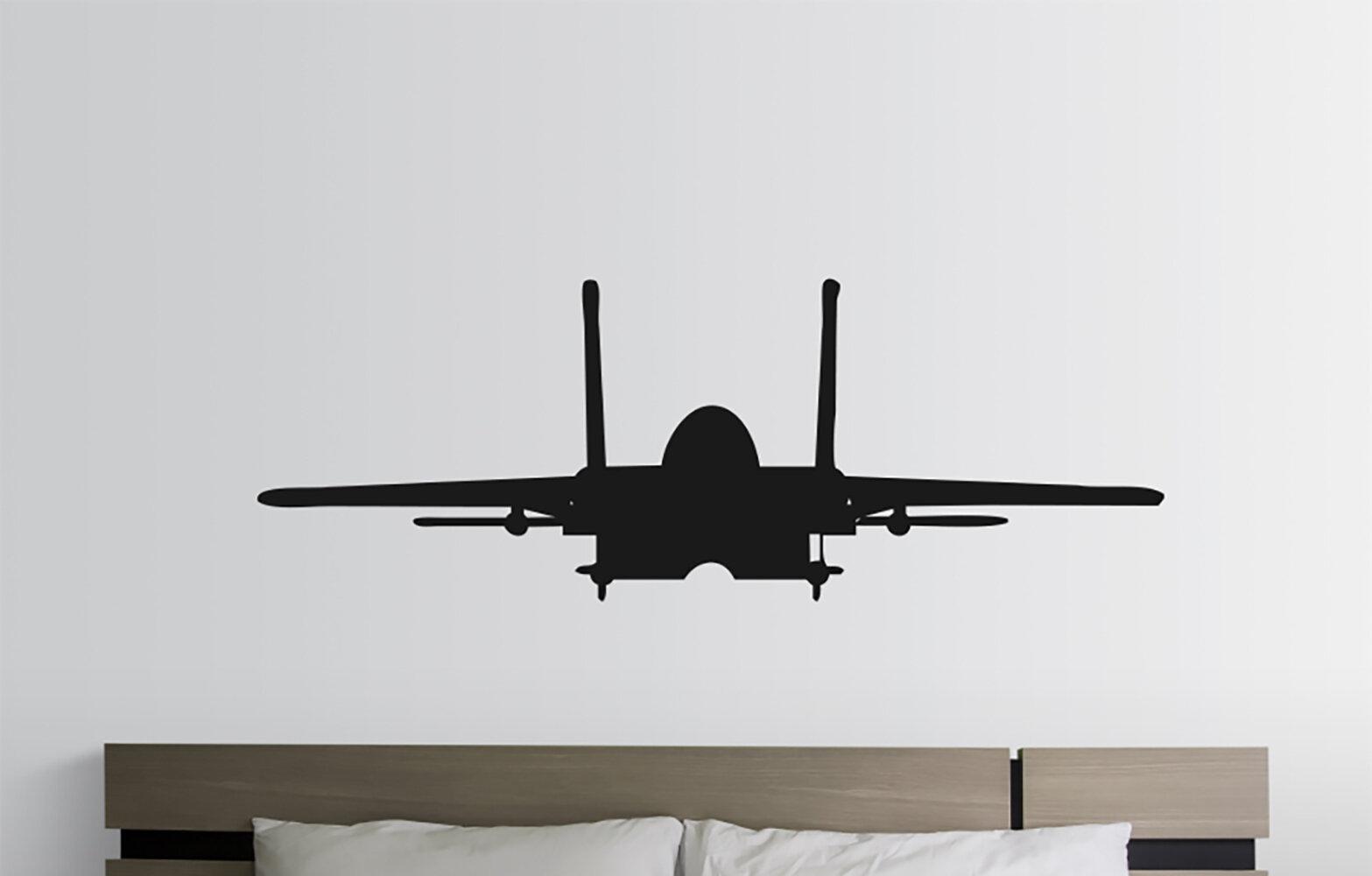 Williston Forge Fighter Jet Airplane Silhouette Vinyl Words Wall Decal Wayfair
