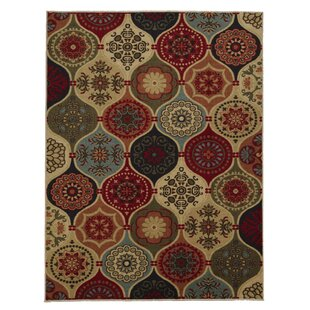 Arline Rubberback Rectangle Red/Beige Indoor/Outdoor Area Rug