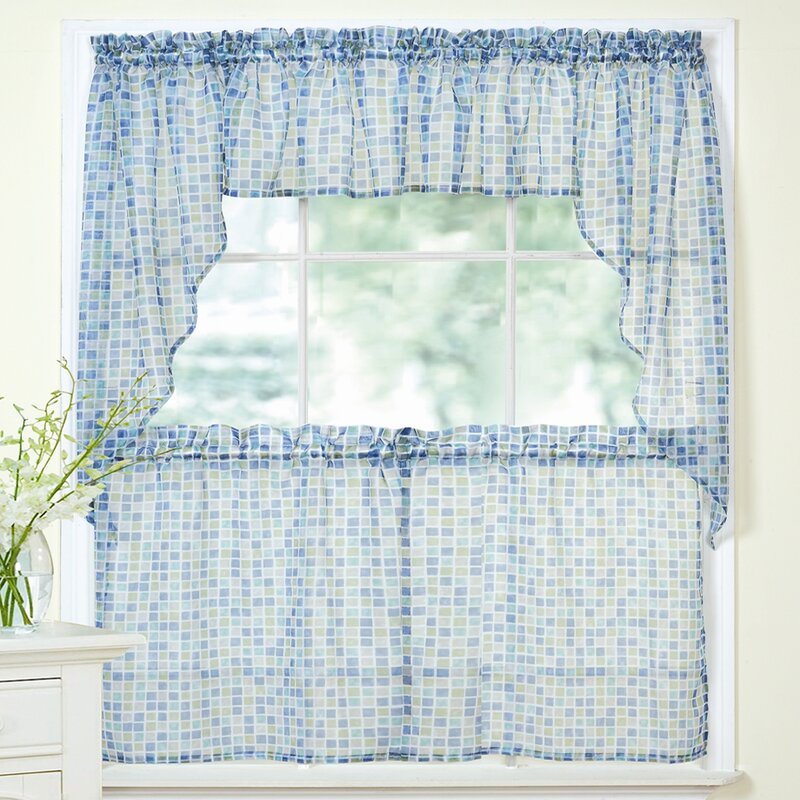 Delicieux Tiles Block Sheer Kitchen Curtains Tier, Valance And Swag Set