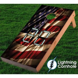 Lightning Cornhole Electronic Scoring USA Flag Cornhole Board