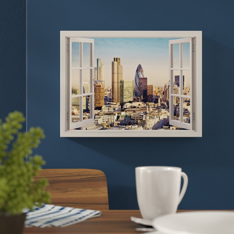 Summer in London Skyscrapers City 3D Window View Poster Print Wall Art Décor
