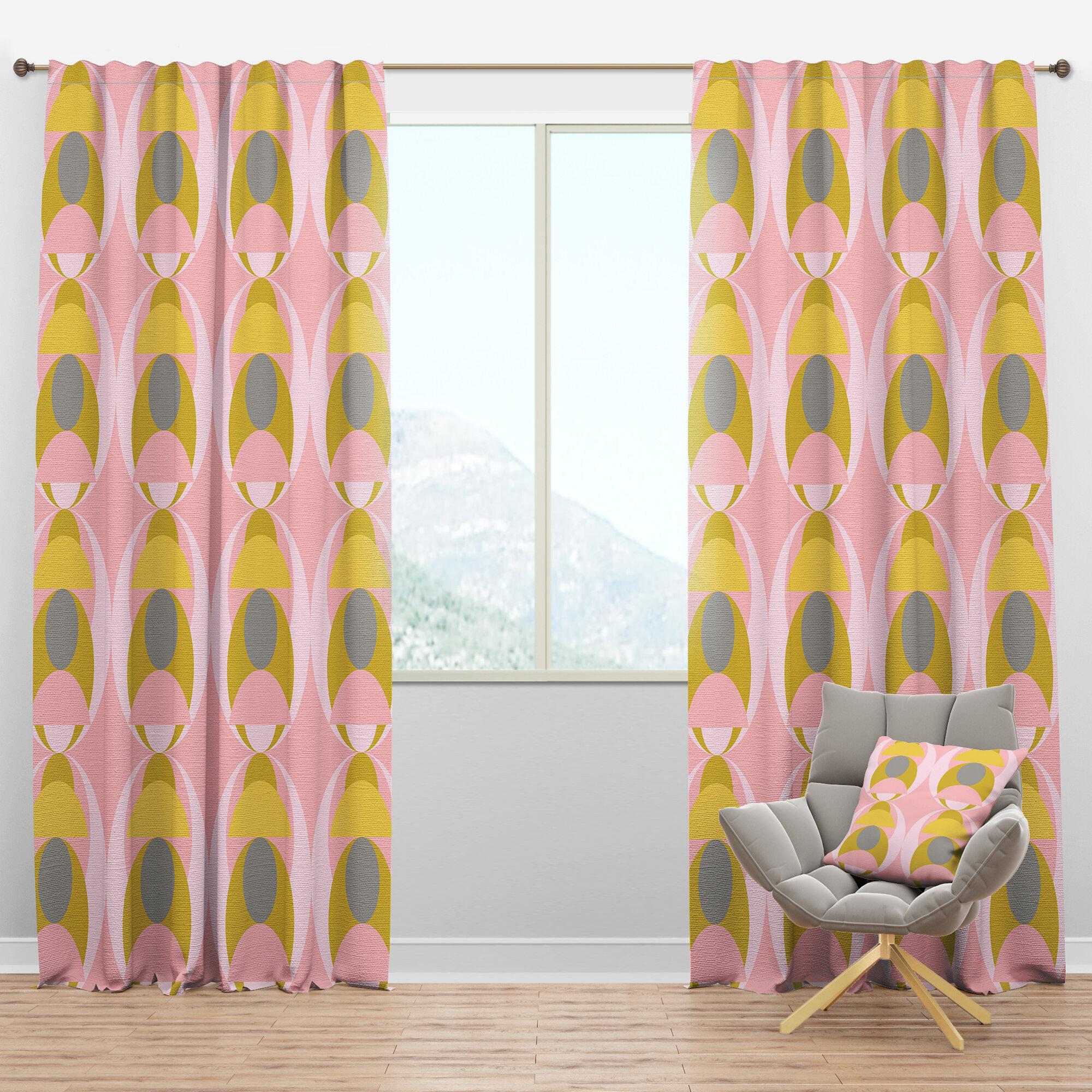 Designart Mid Century Pastel Circulariv Geometric Semi Sheer Thermal Rod Pocket Single Curtain Panel Wayfair