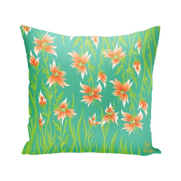 Aqua Floral Pillow Wayfair