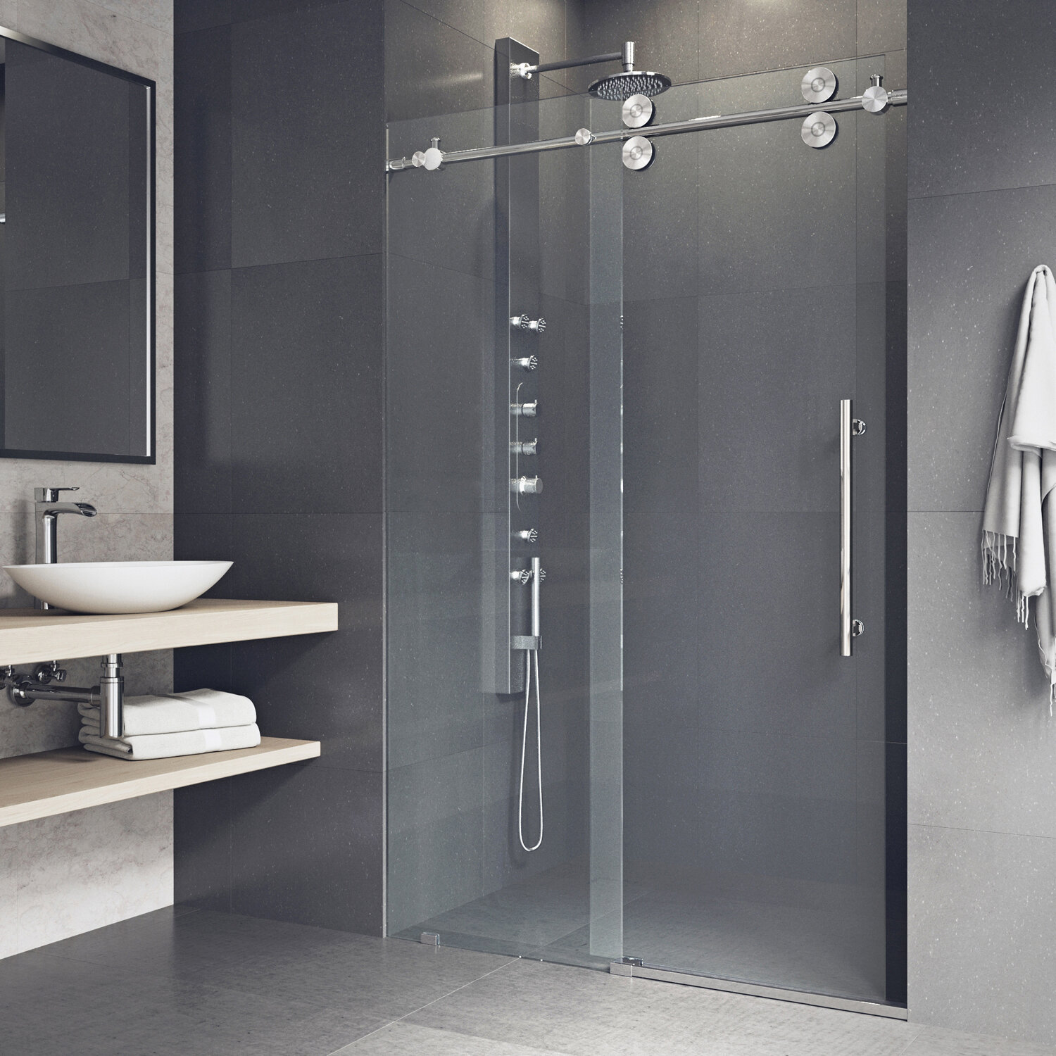 Elan 68 X 74 Single Sliding Frameless Shower Door With Rollerdisk Technology