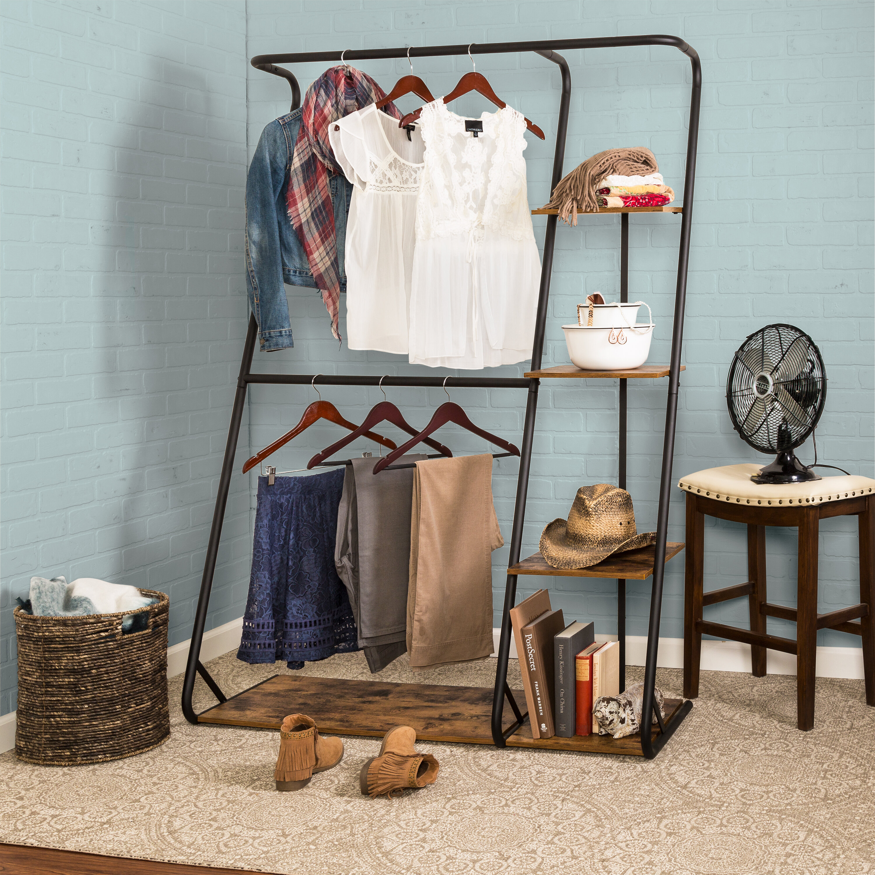 honey can do 48 w rustic z frame wardrobe with shelves reviews