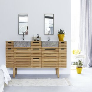 Slats Solid Teak 1500mm Double Vanity Unit By Tikamoon