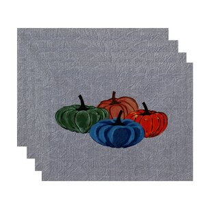 Miller Hand Towel Paper Mache Pumpkins Geometric Print Placemat (Set of 4)