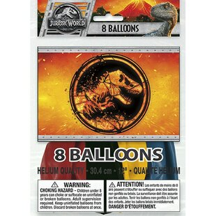 Jurassic World 2 Foil Disposable Latex Balloon (Set of 8)