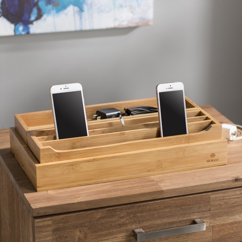 a99a6c710fb7 Rebrilliant 3 Piece Eco-Friendly Bamboo Multi Device Organizer Charging  Station and Dock Set & Reviews | Wayfair
