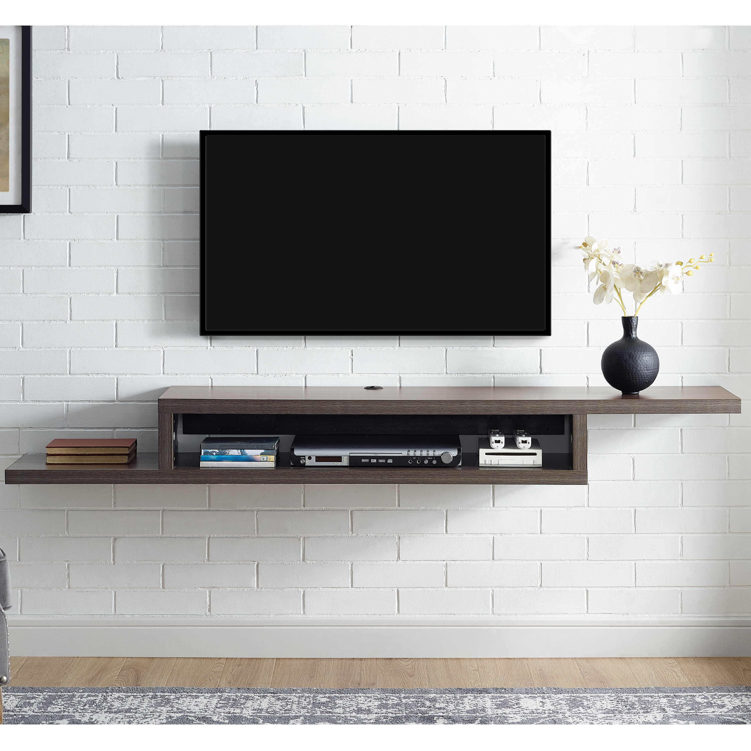 martin home furnishings ascend 60 asymmetrical wall mounted rh wayfair com wall mounted component shelf wall mounted stereo component shelves