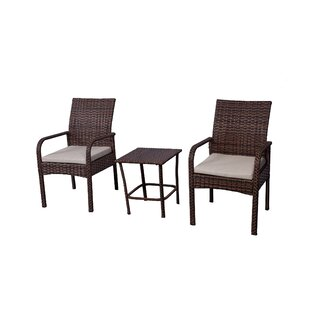 Caceres 3 Piece Rattan Conversation Set with Cushions