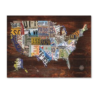 World map wall art usa license plate map on wood graphic art print on canvas sciox Image collections