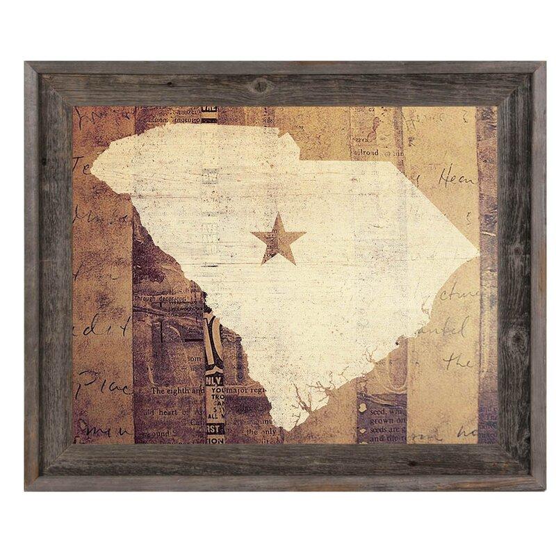 Click Wall Art South Carolina Rustic Framed Graphic Art Wayfair