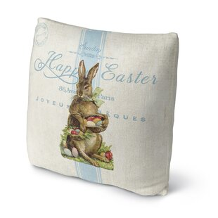 Easter Bunny with Easter Eggs Throw Pillow