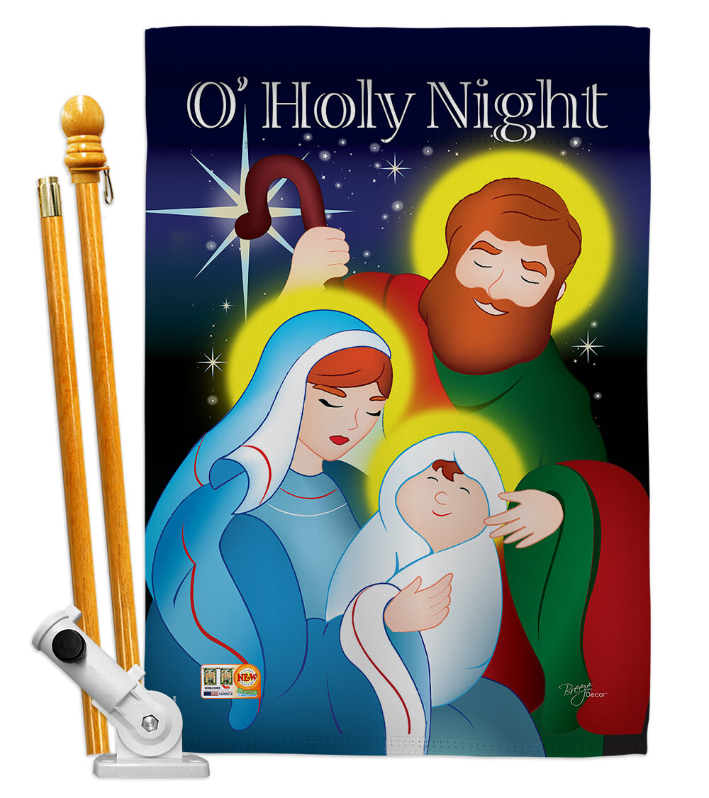 Breeze Decor O Holy Night Nativity Impressions Decorative 2 Sided Polyester 40 X 28 In Flag Set Wayfair