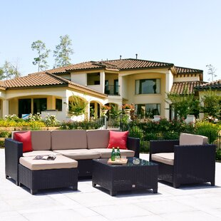 Penelope 6 Piece Rattan Sectional Set with Cushions