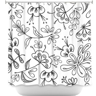 Band with Flora Single Shower Curtain