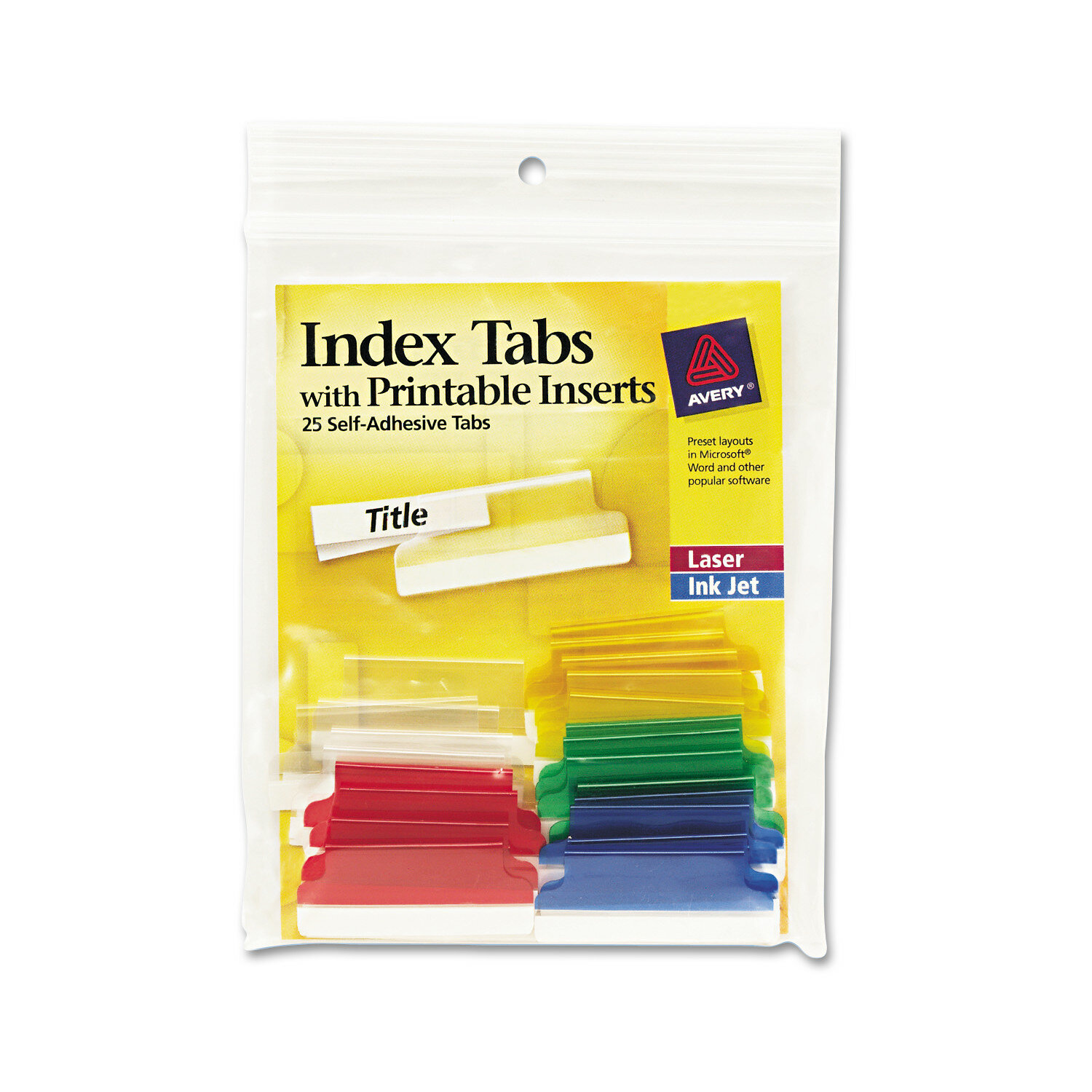 image relating to Printable Self Adhesive Tabs named Self-Adhesive Tabs with Printable Inserts (25/Pack)