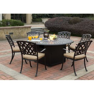 Fleur De Lis Living Campton 7 Piece Dining Set with Firepit and Cushion
