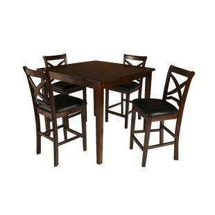 Hohl 5 Piece Counter Height Solid Wood Dining Set